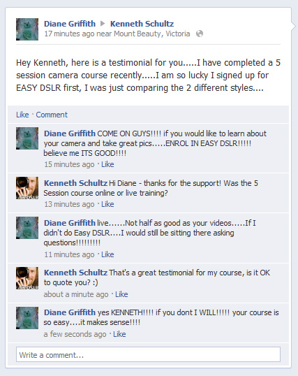 Diane Testimonial about EASYDSLR Digital Photography Course